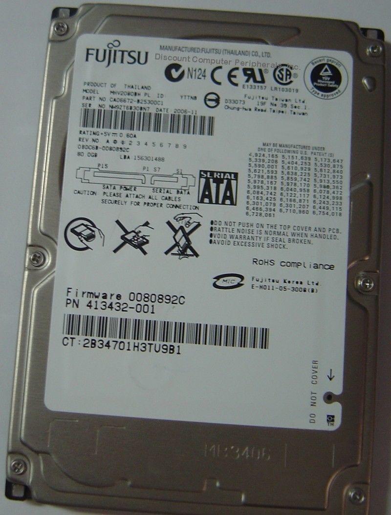 NEW 80GB SATA 2.5in Hard Drive Fujitsu MHV2080BH Free USA Ship Our Drives Work