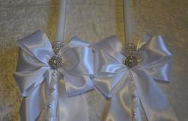 """Greek Orthodox Wedding Baptism Candles Lambathes Lambades 18"""" White Silv... - $104.50"""