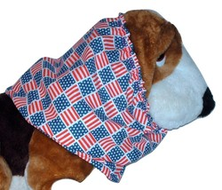 American Flags Patriotic Patchwork Block Print Cotton Dog Snood Size Large - $12.50