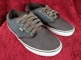 Mens Leather Vans Shoes Size 8 Skate Low Top Sneakers Lace Up Canvas Brown - $39.35