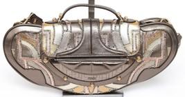 FENDI Leather Metallic MINI VANITY Bag Bronze Crystals Top Handle Should... - $963.30