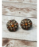 Vintage Clip On Earrings Bronze with Orange & Peach Stones Circle - $12.99