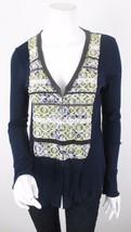 Anthropologie Small S Tiny Blue Green Crochet Lace Tie Dye Boho Cardigan... - $14.84