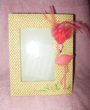 SUPER CUTE 3-D PINK FLAMINGO WITH FEATHERS PHOTO OR PICTURE FRAME - $24.99