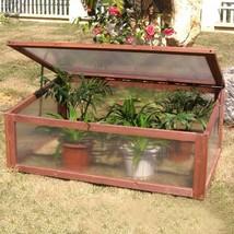 Portable Wooden Green House Cold Frame Raised Plants Bed Protective Garden Decor - $90.92