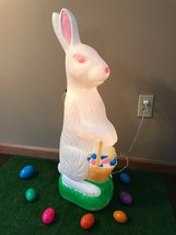 "Vtg 31"" Don Featherstone Blow Mold Lighted Easter Bunny With Basket of E... - $108.89"