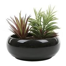 MyGift 8.75 Inch Round Ceramic Planter, Decorative Flower Plant Pot, Black - $32.47 CAD