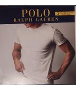 3 POLO RALPH LAUREN MENS COTTON WHITE CREW T-SHIRTS UNDERSHIRTS S M L XL... - $39.99