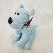 "10"" Vintage Blue Puppy Dog Maroon Bow Furry Plush Stuffed Animal Toy  B225 - $19.97"