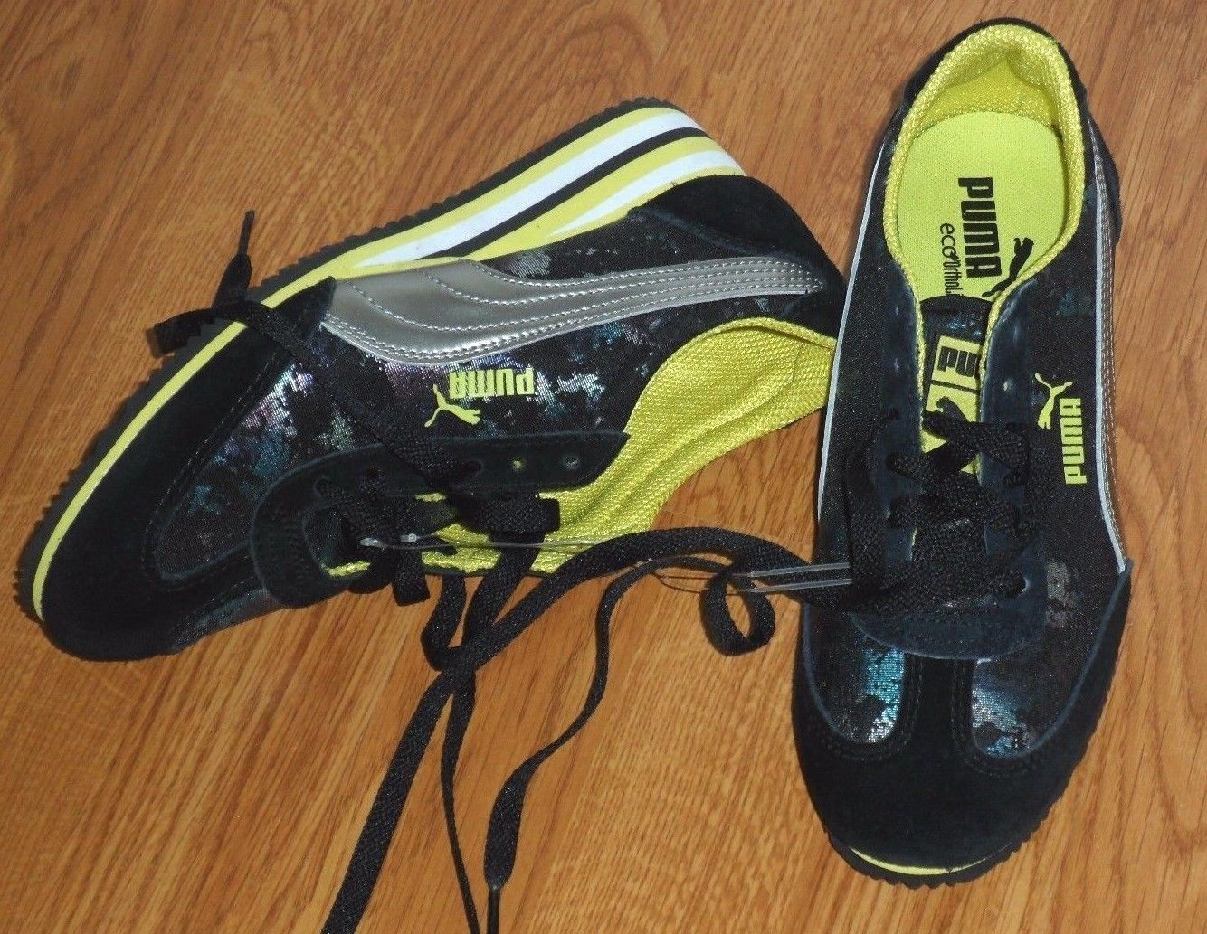 Primary image for PUMA ECO ORTHOLITE SNEAKERS SIZE 6  LADIES BLACK / YELLOW PRINT NWT