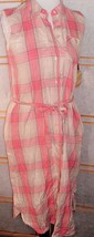 Princess Vera Wang Pink Plaid Duster Shirt Dress side pockets NWT SZ M - $23.95