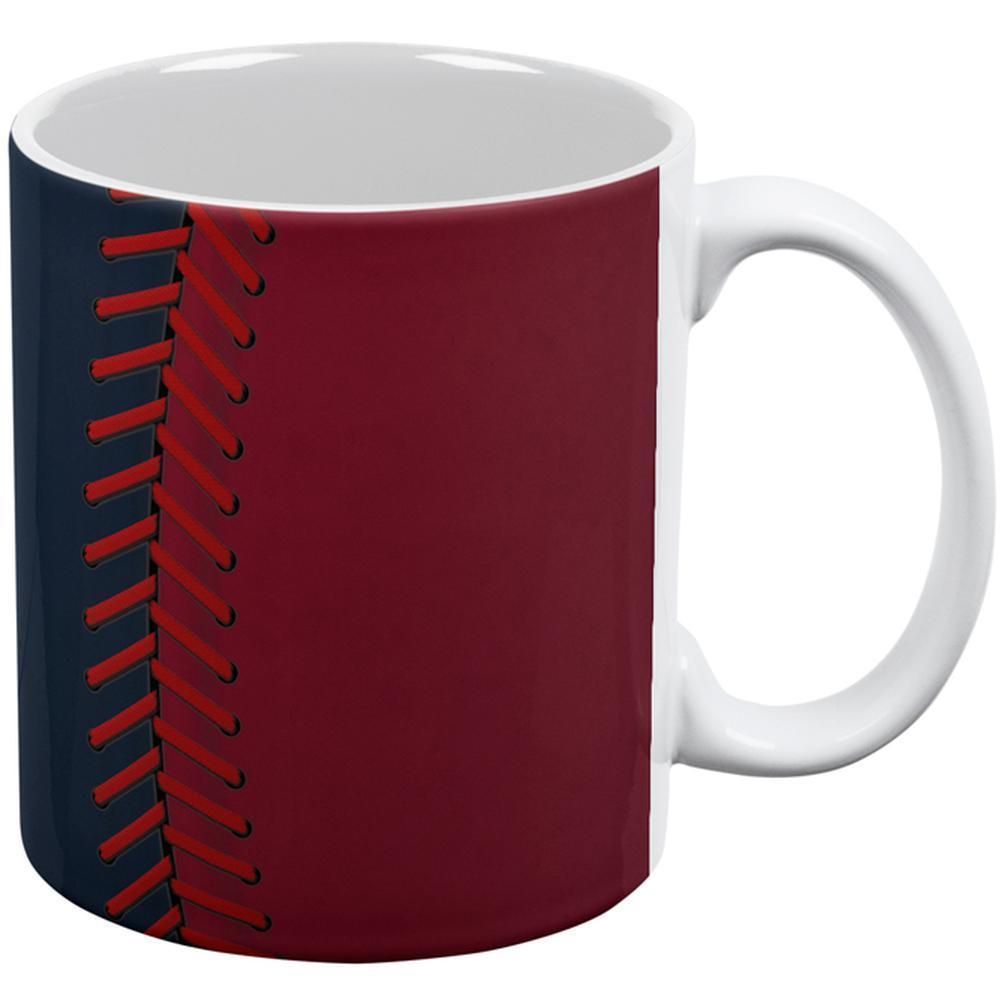 Baseball League Navy Blue and Scarlet All Over Coffee Mug