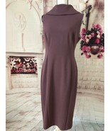 CONNECTED APPAREL NEW COLLARED PRISTINE SHEATH DRESS DARK PLUM SIZE 10 - $35.00