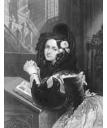LOVELY MAIDEN Rosina on Knees Praying in Church - 1860s Engraving Print - $12.15