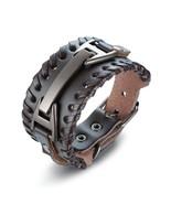 Vnox Mens Leather Bracelet Punk Braided Rope Bracelets Bangles Length Ad... - $13.28