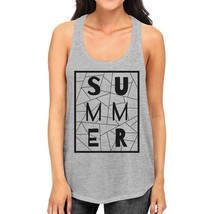 Summer Geometric Womens Grey Sleeveless Tee Trendy Lettering Tanks - $14.99