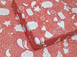 informative Christmas wrapping paper ⌡ Red paper with white doodle - $36.05