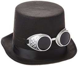 Steampunk Black Top Hat with Silver Goggles - $14.24