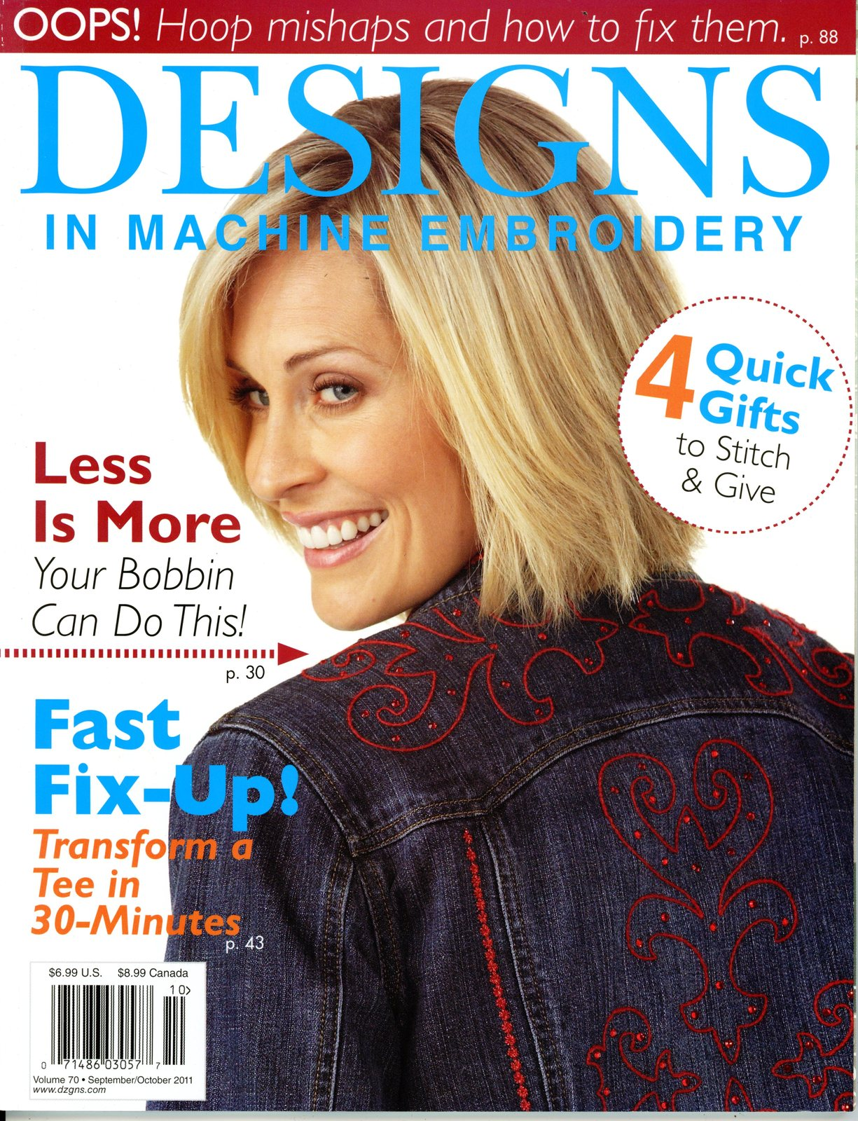 Primary image for Designs in Machine Embroidery Magazine Vol 70 Sep/Oct 2011 Organizer T-Shirts