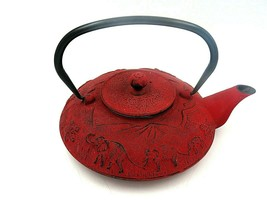 Vintage Japanese Cast Iron Red Teapot Infuser with Filter - $65.26 CAD