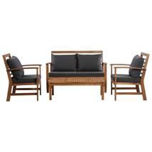 vidaXL 4 Piece Solid Acacia Wood Garden Lounge Set with Cushions Outdoor... - $318.99