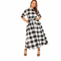 Self Belted Gingham Pattern Women Plus Size Casual Dress Round Neck Half... - $29.95