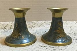 Vintage Brass Cloisonne Taper Candle Holders Floral Design Retro Candle Holder - $12.00