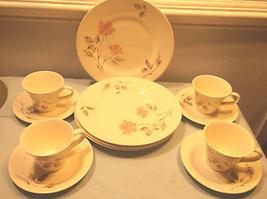 Vintage Knowles Dawn Rose Dinnerware Set Kalla. Pink Rose Gray Leaves - $84.14
