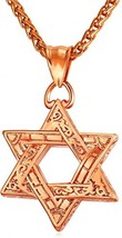 Jewish Jewelry Vintage Style Amulet Pendant For Men and Women Chain Rose... - $49.68