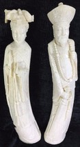 "Emperor and Empress Carved Faux Tusk Statues Figures 21"" Tall - $25.61"