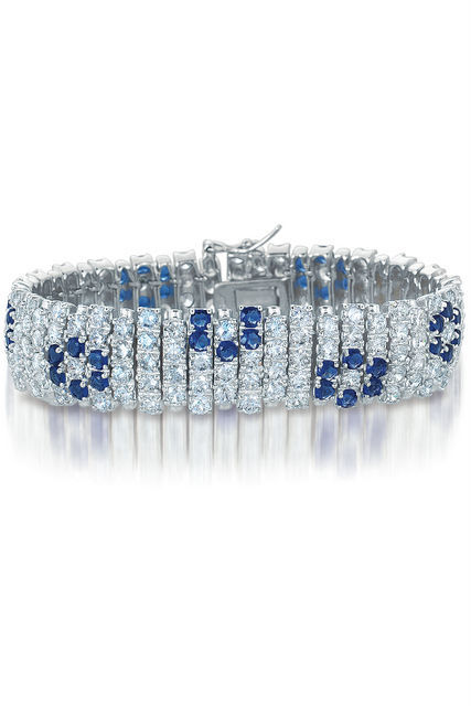Primary image for Sterling Silver Blue and White Floral Multi Row Bracelet