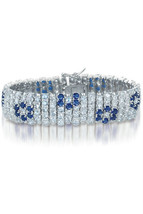 Sterling Silver Blue and White Floral Multi Row Bracelet - $549.99