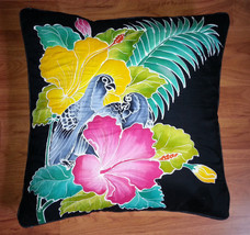 New Handpainted Batik Tropical Birds Flowers 23X23 Inch Cotton Pillow Cover Bali - $23.38
