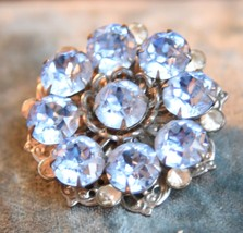 Vintage Pale Blue Crystal High Quality Rhinestone Pin Brooch Prong Set Round Sil - $29.99