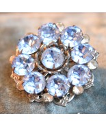VINTAGE PALE BLUE CRYSTAL HIGH QUALITY RHINESTONE PIN BROOCH PRONG SET R... - $29.99