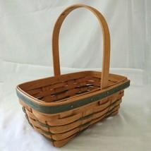 Vtg Longaberger Basket 1997 Green Brown Country Farmhouse Rustic Cabin Handle - $22.99