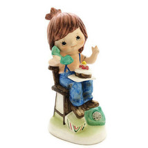 Vintage Ceramic Figurine Boy Chair Phone Cake Birthday Hand Painted  - $27.87
