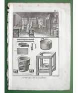 SEALING WAX Manufacture View of Shop & Tools - 1783 Copperplate Engraving - $9.95
