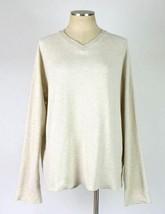 Polo Ralph Lauren Bone Toned Ribbed Cotton V Neck Sweater Jumper Mens Size Large - $14.84