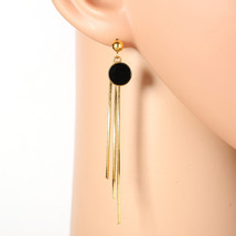 Sleek Gold Tone Designer Drop Earrings, Jet Black Faux Onyx Circle & Tas... - $18.99