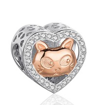SG 925 sterling Silver cat mom&kid rose Beads Charms with CZ Fit Authent... - $26.01