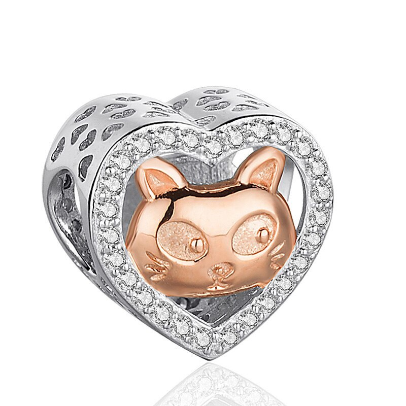 Primary image for SG 925 sterling Silver cat mom&kid rose Beads Charms with CZ Fit Authentic pando