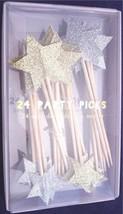NIB Meri Meri Gold & Silver Glitter Star Party Picks Cupcake Toppers, Bo... - $8.99