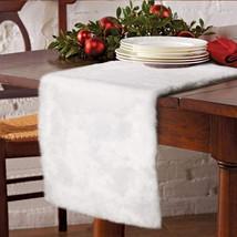 Christmas Faux Fur Christmas Table Runner Winter Snowy White Table Runner  - $29.39