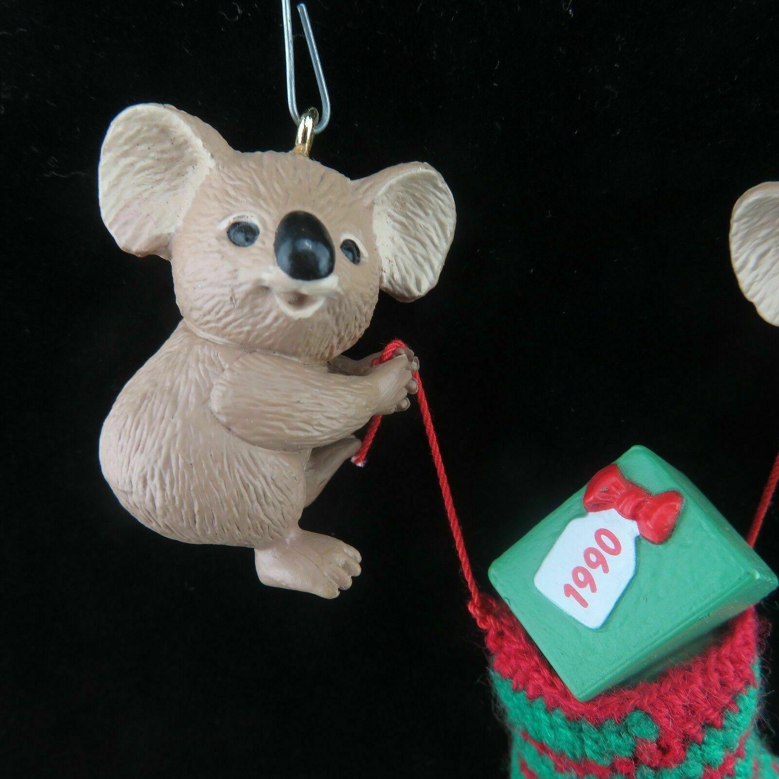 Vintage Koala Christmas Stocking Ornament Hallmark Keepsake 1990 image 4