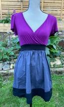 Be Bop USA Made Purple Gray Black Colorblock Mini Dress Flutter Sleeve J... - $14.50