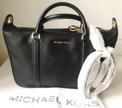 Michael Kors Raven Black Large Satchel Leather Crossbody Bag 30F6GRXS2L ... - $199.99