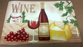 """4 Vinyl Non Clear Placemats (18""""x12"""") Wine & Grapes, 1 Bottle, 1 Glass & Cheese - $15.83"""