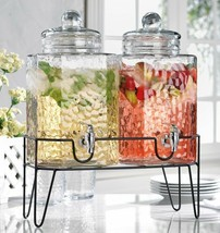 Homephile Twin Hammered cold Beverage Drink Dispensers On Metal Stand 1.... - $59.39