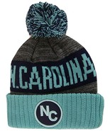 North Carolina NC Patch Ribbed Cuff Knit Winter Hat Pom Beanie (Teal/Nav... - $11.95